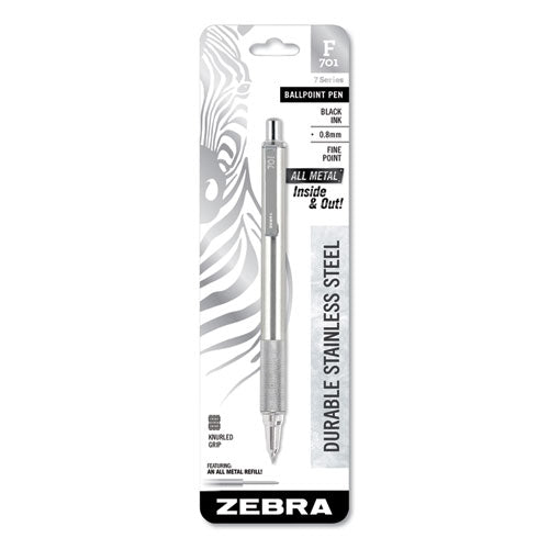 Zebra F-701 Retractable Ballpoint Pen, 0.7mm, Black Ink, Fine