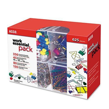 ACCO 350 PAPER CLIPS, 150 PUSH PINS, 80 BUTTERFLY CLIPS & 45 BINDER CLIPS, ASSORTED-ACCO-Omni Supply