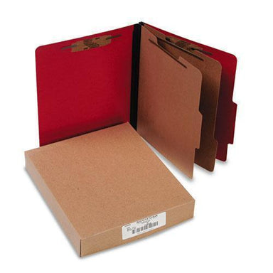 ACCO Colorlife Presstex Classification Folders, Letter, 6-Section, Exec Red, 10-box-ACCO-Omni Supply
