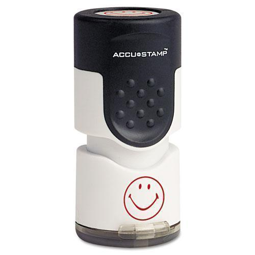 "ACCUSTAMP Pre-Inked Round Stamp, Smiley, 5-8"" Dia., Red-ACCUSTAMP®-Omni Supply"