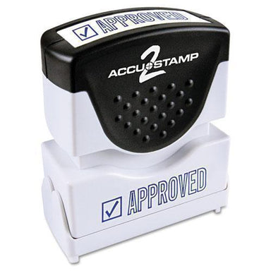 ACCUSTAMP2 Pre-Inked Shutter Stamp, Blue, Approved, 1 5-8 X 1-2-ACCUSTAMP2®-Omni Supply