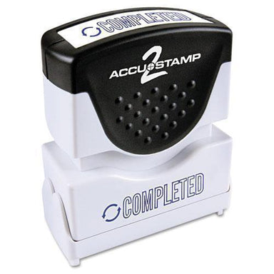 ACCUSTAMP2 Pre-Inked Shutter Stamp, Blue, Completed, 1 5-8 X 1-2-ACCUSTAMP2®-Omni Supply