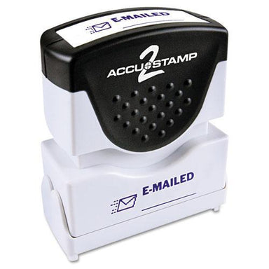 ACCUSTAMP2 Pre-Inked Shutter Stamp, Blue, Emailed, 1 5-8 X 1-2-ACCUSTAMP2®-Omni Supply