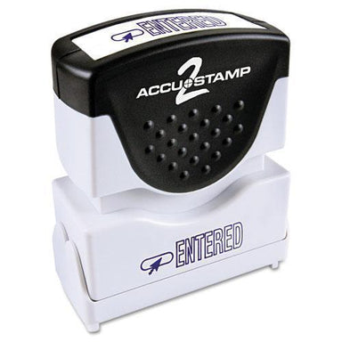 ACCUSTAMP2 Pre-Inked Shutter Stamp, Blue, Entered, 1 5-8 X 1-2-ACCUSTAMP2®-Omni Supply