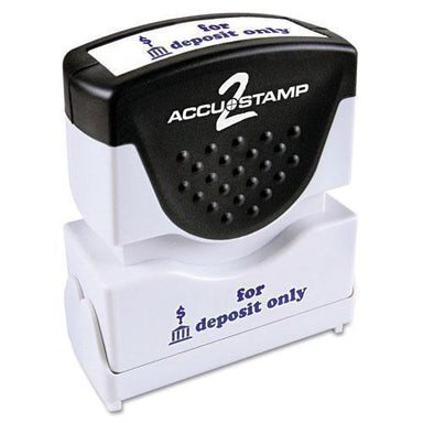 ACCUSTAMP2 Pre-Inked Shutter Stamp, Blue, For Deposit Only, 1 5-8 X 1-2-ACCUSTAMP2®-Omni Supply