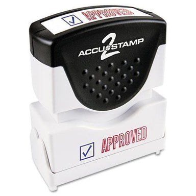 ACCUSTAMP2 Pre-Inked Shutter Stamp, Red-blue, Approved, 1 5-8 X 1-2-ACCUSTAMP2®-Omni Supply