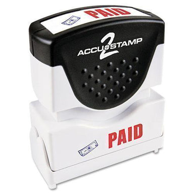 ACCUSTAMP2 Pre-Inked Shutter Stamp With Microban, Red-blue, Paid, 1 5-8 X 1-2-ACCUSTAMP2®-Omni Supply