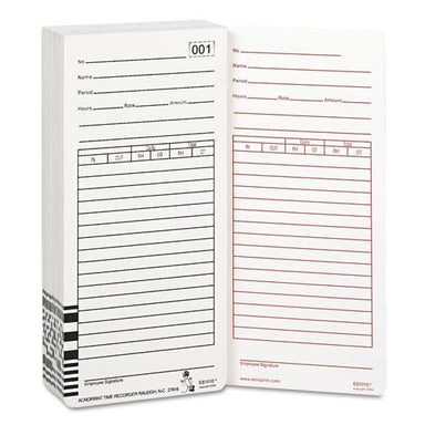 Acroprint Time Card For Es1000 Electronic Totalizing Payroll Recorder, 100-pack-Acroprint®-Omni Supply
