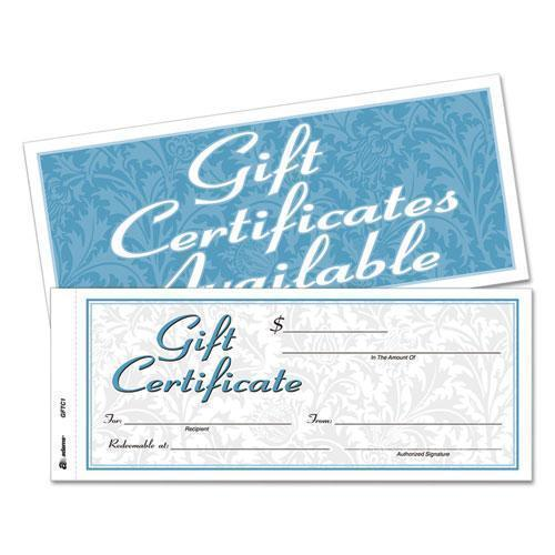 Adams Gift Certificates W-envelopes, 8 X 3 2-5, White-canary, 25-book-Adams®-Omni Supply