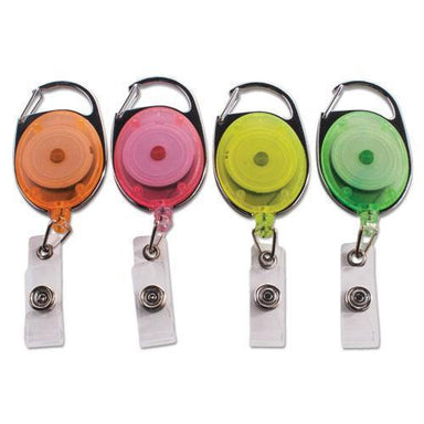 "Advantus Carabiner-Style Retractable Id Card Reel, 30"" Extension, Assorted Neon, 20-pack-Advantus-Omni Supply"