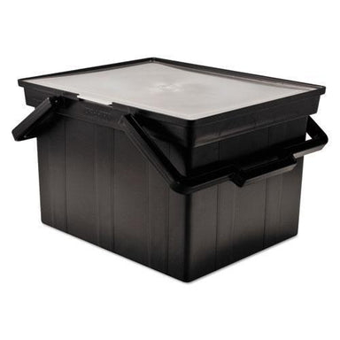 Advantus Companion Portable File Storage Box, Legal-letter, Plastic, Black-Advantus-Omni Supply