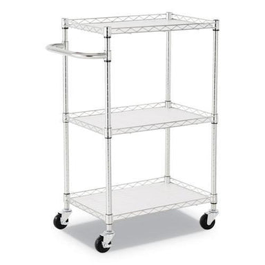 "Alera 3-SHELF WIRE CART WITH LINERS, 28 1-2"" X 16"" X 39"", SILVER, 500 LBS CAPACITY-Alera®-Omni Supply"