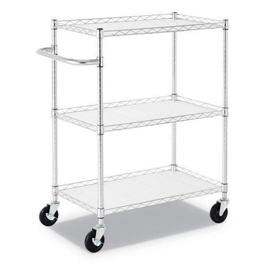 "Alera 3-SHELF WIRE CART WITH LINERS, 34 1-2"" X 18"" X 40"", SILVER, 600 LBS CAPACITY-Alera®-Omni Supply"