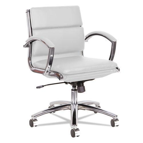 Alera Alera Neratoli Low-Back Slim Profile Chair, White Faux Leather, Chrome Frame-Alera®-Omni Supply