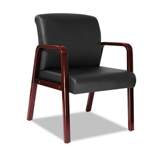 Alera Alera Reception Lounge Series Guest Chair, Cherry-black Leather-Alera®-Omni Supply