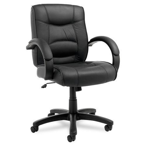 Alera Alera Strada Series Mid-Back Swivel-tilt Chair W-black Top-Grain Leather-Alera®-Omni Supply