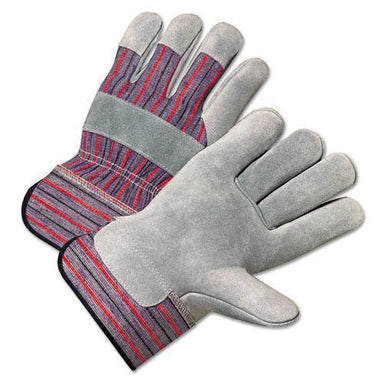 AnchorBran 2000 Series Leather Palm Gloves, Gray-red, Large, 12 Pairs-Anchor Brand®-Omni Supply