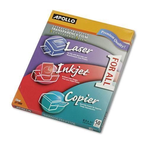 Apollo Color Laser-inkjet Transparency Film, Letter, Clear, 50-box-Apollo®-Omni Supply