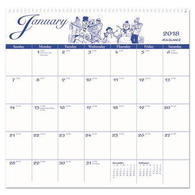 ATAGLANCE 12-MONTH ILLUSTRATOR'S EDITION WALL CALENDAR, 12 X 11 3-4, ILLUSTRATIONS, 2019-AT-A-GLANCE®-Omni Supply