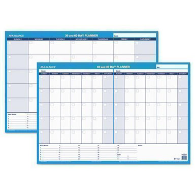 ATAGLANCE 30-60-Day Undated Horizontal Erasable Wall Planner, 36 X 24, White-blue,-AT-A-GLANCE®-Omni Supply