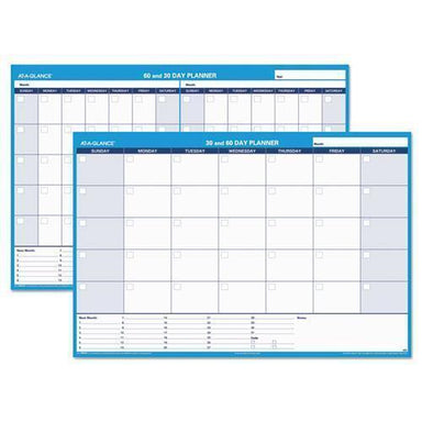 ATAGLANCE 30-60-Day Undated Horizontal Erasable Wall Planner, 48 X 32, White-blue,-AT-A-GLANCE®-Omni Supply