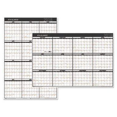 ATAGLANCE CONTEMPORARY TWO-SIDED YEARLY ERASABLE WALL PLANNER, 24 X 36, 2019-AT-A-GLANCE®-Omni Supply