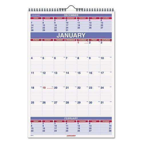 ATAGLANCE THREE-MONTH WALL CALENDAR, 15 1-2 X 22 3-4, 2019-AT-A-GLANCE®-Omni Supply