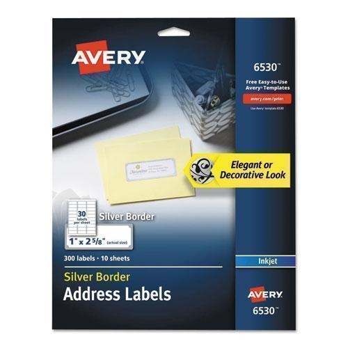 Avery EASY PEEL ADDRESS LABELS W- BORDER, SILVER, 1 X 2 5-8, 30-SHEET, 10 SHEETS-PACK-Avery®-Omni Supply
