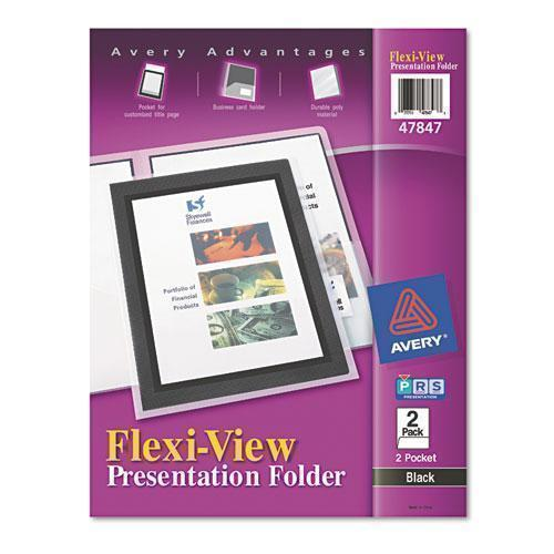 Avery Flexi-View Two-Pocket Polypropylene Folder, Translucent-black, 2-pack-Avery®-Omni Supply
