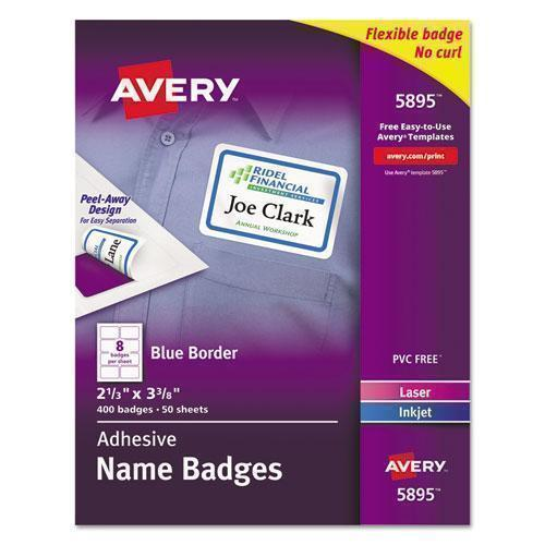 Avery FLEXIBLE ADHESIVE NAME BADGE LABELS, 2 1-3 X 3 3-8, BE, 400-BX-Avery®-Omni Supply