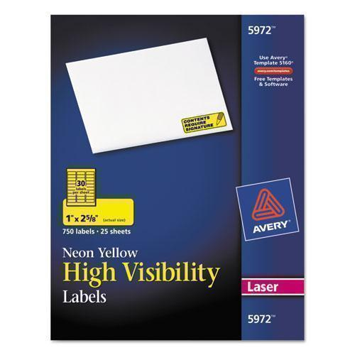 Avery High-Visibility Permanent Id Labels, Laser, 1 X 2 5-8, Neon Yellow, 750-pack-Avery®-Omni Supply