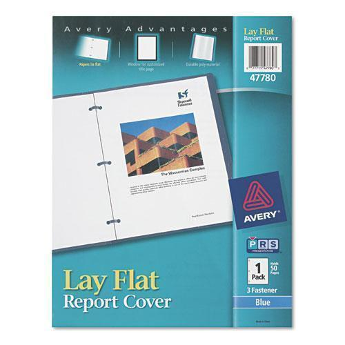"Avery Lay Flat View Report Cover W-flexible Fastener, Letter, 1-2"" Cap, Clear-blue-Avery®-Omni Supply"