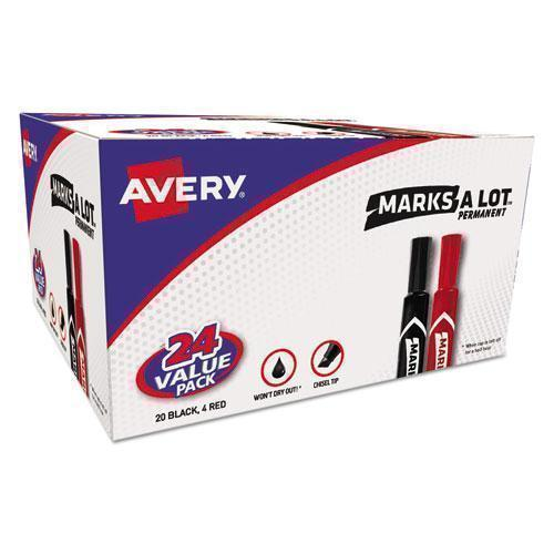 Avery MARKS A LOT REGULAR DESK-STYLE PERMANENT MARKER, CHISEL TIP, BLACK, 24-PACK-Avery®-Omni Supply