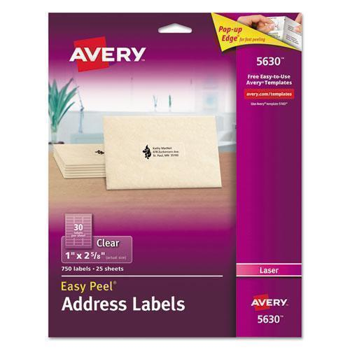 Avery Matte Clear Easy Peel Address Labels, Laser, 1 X 2 5-8, 750-box-Avery®-Omni Supply