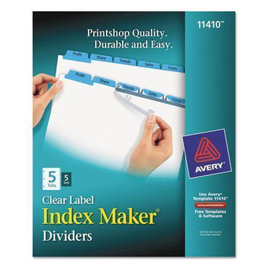 Avery PRINT AND APPLY INDEX MAKER CLEAR LABEL DIVIDERS, 5 COLOR TABS, LETTER, 5 SETS-Avery®-Omni Supply