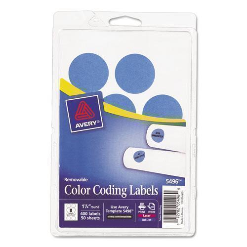 "Avery Printable Removable Color-Coding Labels, 1 1-4"" Dia, Light Blue, 400-pack-Avery®-Omni Supply"