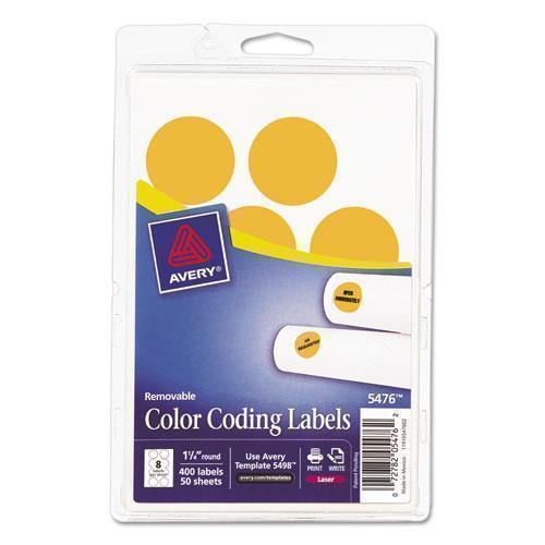 "Avery Printable Removable Color-Coding Labels, 1 1-4"" Dia, Neon Orange, 400-pack-Avery®-Omni Supply"