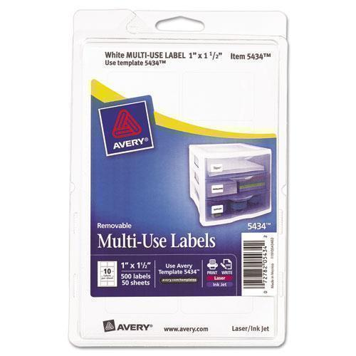 Avery Removable Multi-Use Labels, 1 X 1 1-2, White, 500-pack-Avery®-Omni Supply