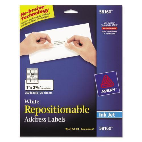 Avery Repositionable Address Labels, Inkjet-laser, 1 X 2 5-8, White, 750-box-Avery®-Omni Supply