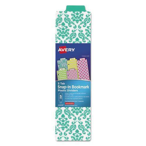 Avery Tabbed Snap-In Bookmark Plastic Dividers, Assorted Prints, 5-Tab, 3 X 11 1-2-Avery®-Omni Supply