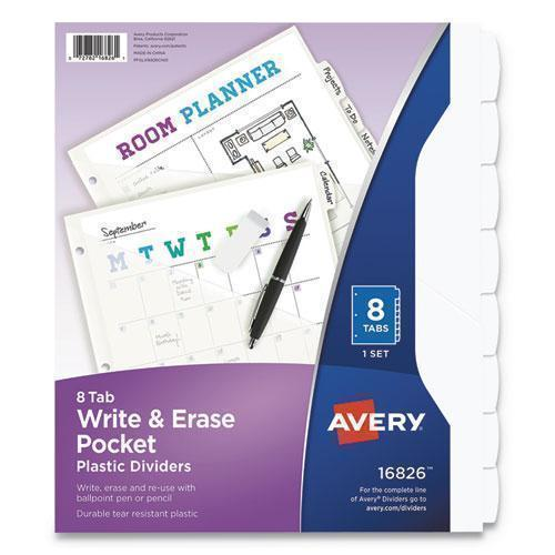 "Avery WRITE AND ERASE PLASTIC DIVIDERS WITH POCKET, 8-TAB, 9 1-4"" X 11 1-8"", WHITE-Avery®-Omni Supply"