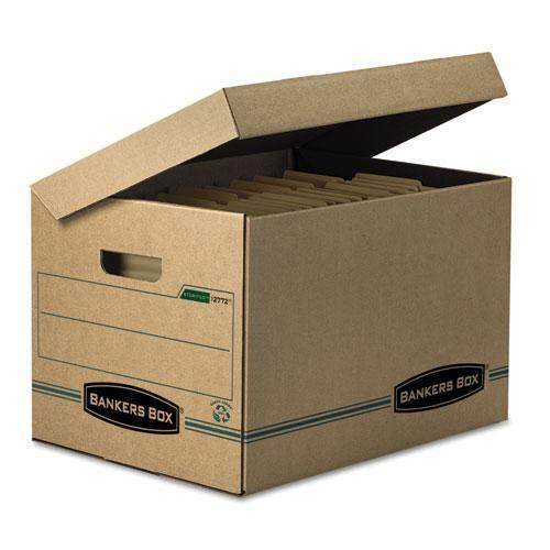 BankersBox Stor-file Storage Box, Letter-legal, Attached Lid, Kraft-green, 12-carton-Bankers Box®-Omni Supply