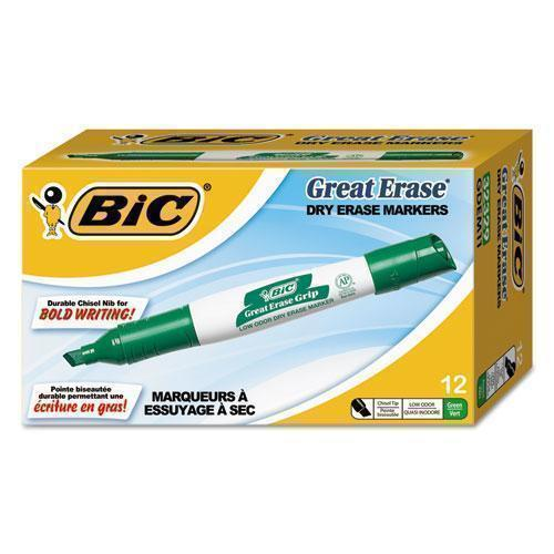 BIC GREAT ERASE GRIP CHISEL TIP DRY ERASE MARKERS, LOW-ODOR, GREEN, DOZEN-BIC®-Omni Supply