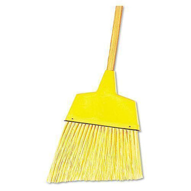 "Boardwalk Angler Broom, Plastic Bristles, 53"" Wood Handle, Yellow, 12-carton-Boardwalk®-Omni Supply"