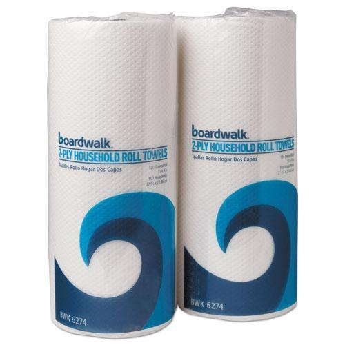 Boardwalk BOARDWALK GREEN HOUSEHOLD ROLL TOWELS, 2-PLY, WHITE, 9 X 11, 100-RL, 30 ROLLS-CT-Boardwalk®-Omni Supply