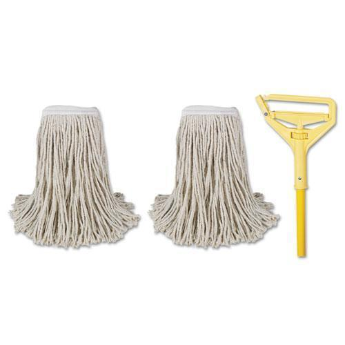 "Boardwalk Cut-End Mop Kits, #24, Natural, 60"" Metal-plastic Handle, Yellow-Boardwalk®-Omni Supply"