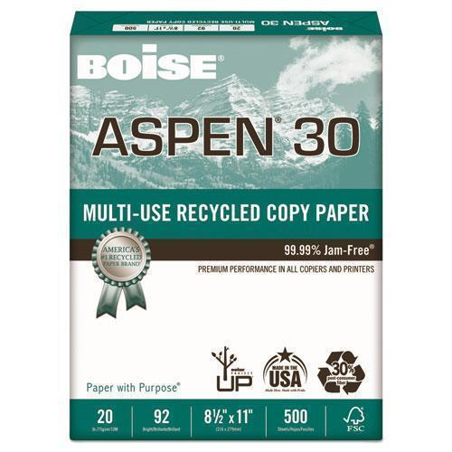 Boise ASPEN 30% RECYCLED MULTI-USE PAPER, 92 BRIGHT, 20LB, 8 1-2 X 11, WHITE, 5000-CT-Boise®-Omni Supply