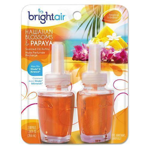 BRIGHT Air Electric Scented Oil Air Freshener Refill, Hawaiian Blossoms And Papaya, 2-pack-BRIGHT Air®-Omni Supply