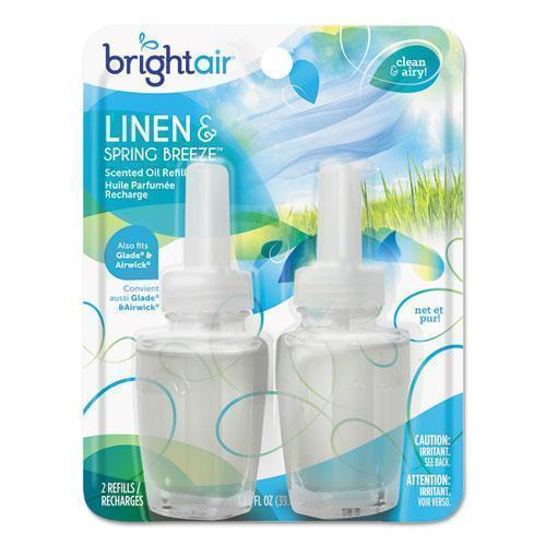 BRIGHT Air Electric Scented Oil Air Freshener Refill, Linen & Spring Breeze,0.67oz Jar,2-pk-BRIGHT Air®-Omni Supply