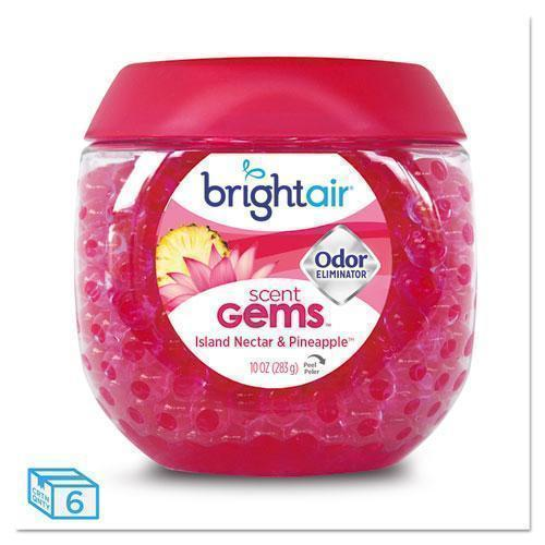 BRIGHT Air Scent Gems Odor Eliminator, Island Nectar And Pineapple, Pink, 10 Oz, 6-carton-BRIGHT Air®-Omni Supply